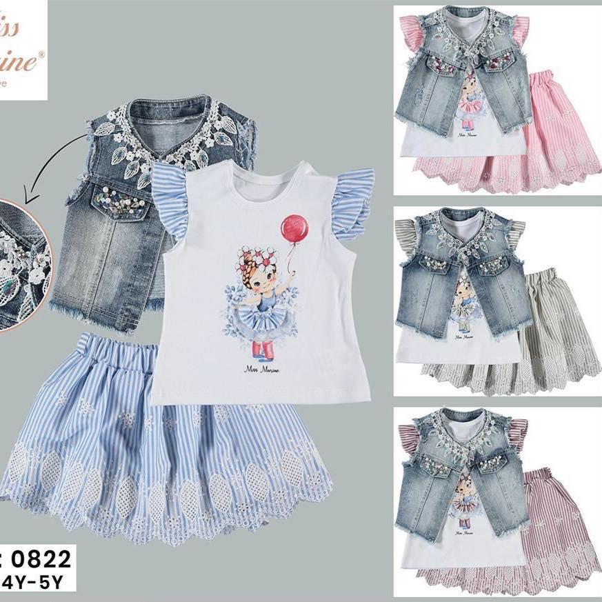 Top+skirt+denim jacket